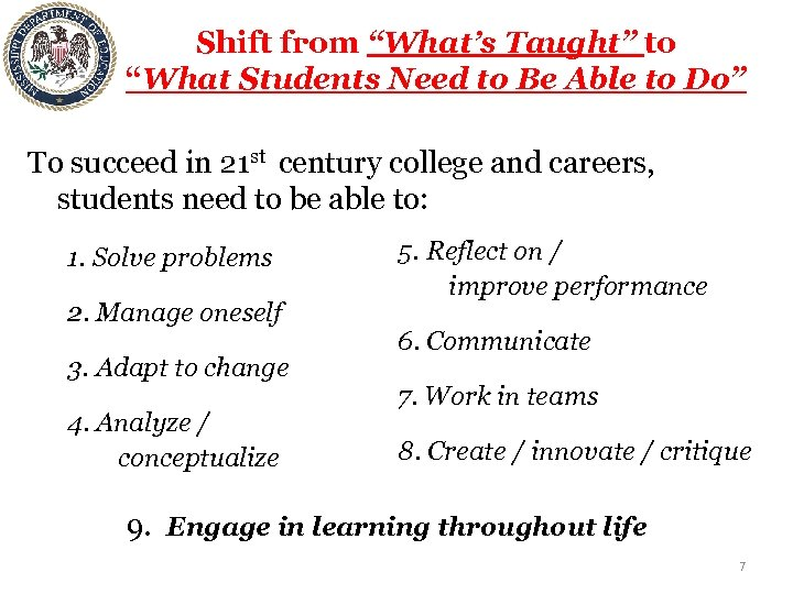 """Shift from """"What's Taught"""" to """"What Students Need to Be Able to Do"""" To"""