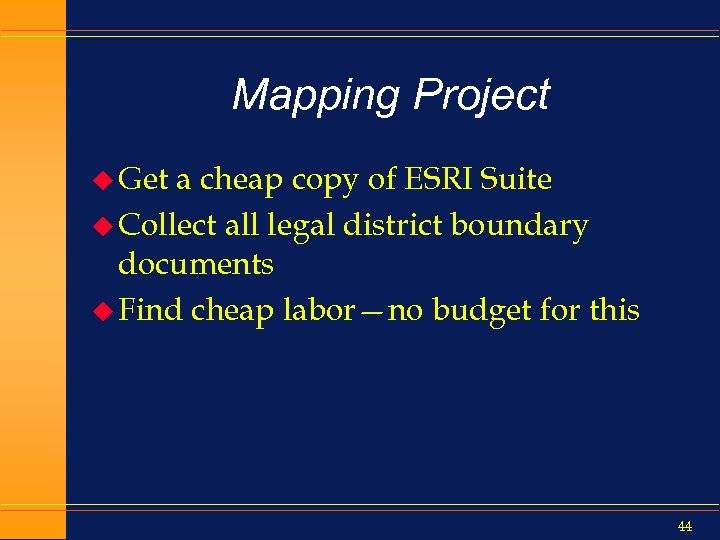 Mapping Project u Get a cheap copy of ESRI Suite u Collect all legal