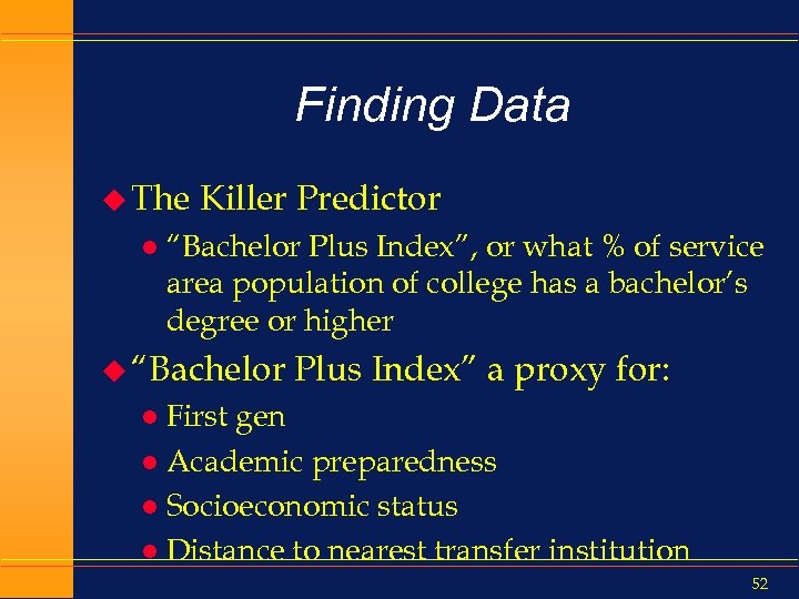 "Finding Data u The l Killer Predictor ""Bachelor Plus Index"", or what % of"