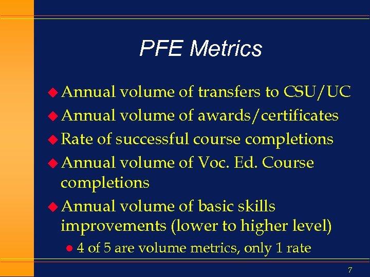 PFE Metrics u Annual volume of transfers to CSU/UC u Annual volume of awards/certificates