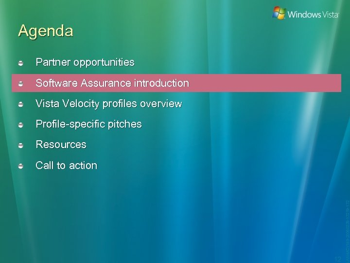 Agenda Partner opportunities Software Assurance introduction Vista Velocity profiles overview Profile-specific pitches Resources 12