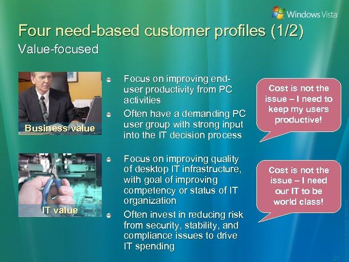 Four need-based customer profiles (1/2) Value-focused IT value Focus on improving quality of desktop