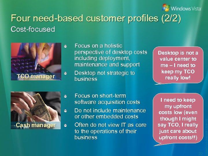 Four need-based customer profiles (2/2) Cost-focused Cash manager Desktop is not a value center