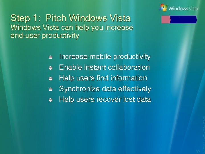 Step 1: Pitch Windows Vista can help you increase end-user productivity 30 LAN-MCY 149