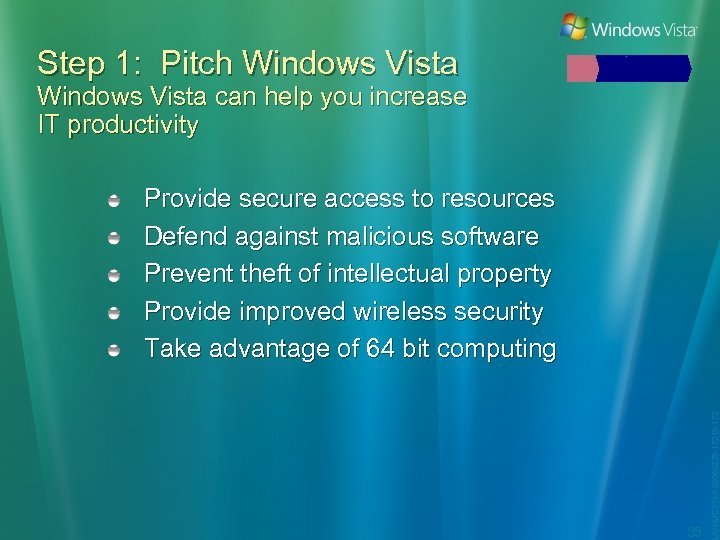 Step 1: Pitch Windows Vista can help you increase IT productivity 35 LAN-MCY 149