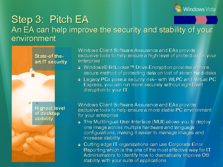 Step 3: Pitch EA An EA can help improve the security and stability of