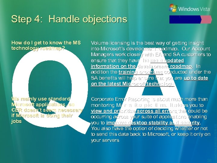 Step 4: Handle objections QA Volume licensing is the best way of getting insight