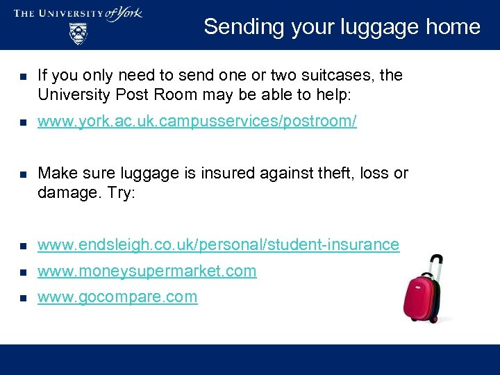 Sending your luggage home n If you only need to send one or two