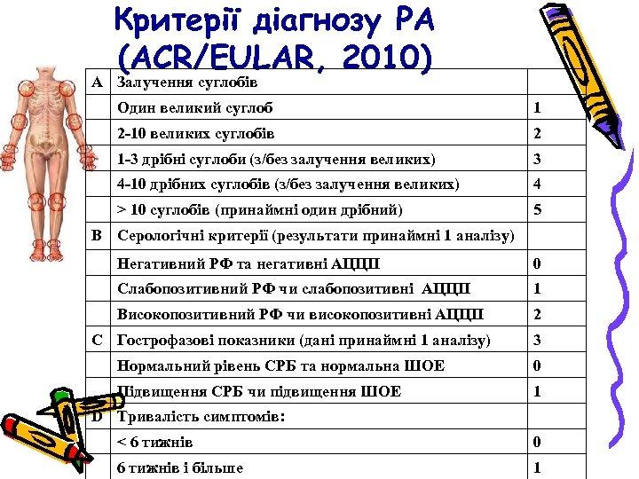 Критерії діагнозу РА (АСR/EULAR, 2010) А Залучення суглобів Один великий суглоб 1 2 -10