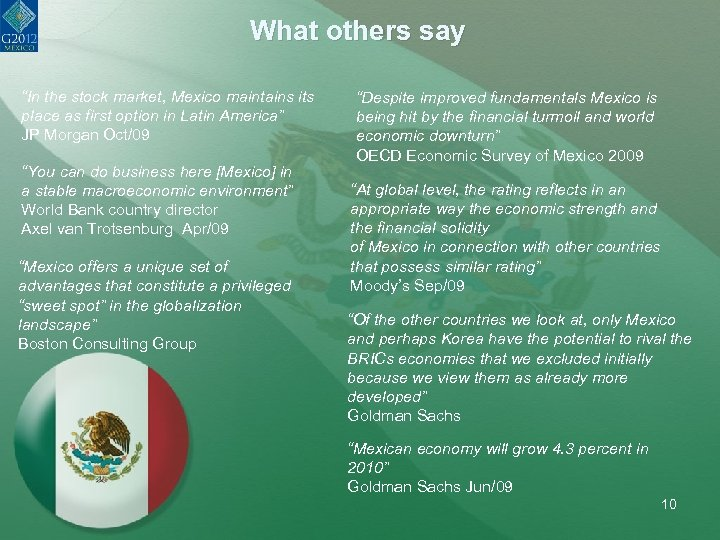 """What others say """"In the stock market, Mexico maintains its place as first option"""