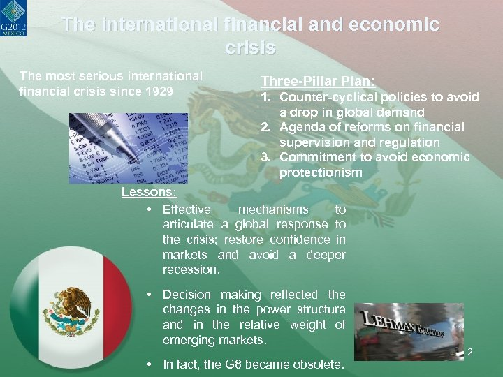 The international financial and economic crisis The most serious international financial crisis since 1929
