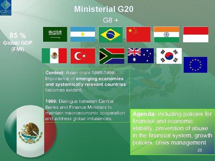 Ministerial G 20 G 8 + 85 % Global GDP (FMI) Context: Asian crisis