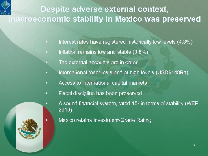 Despite adverse external context, macroeconomic stability in Mexico was preserved • Interest rates have