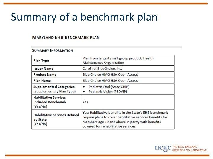 Summary of a benchmark plan