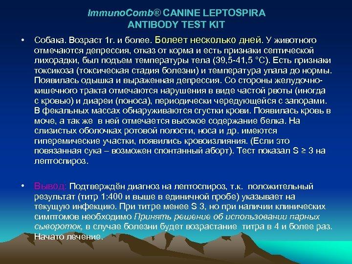 Immuno. Comb® CANINE LEPTOSPIRA ANTIBODY TEST KIT • Собака. Возраст 1 г. и более.