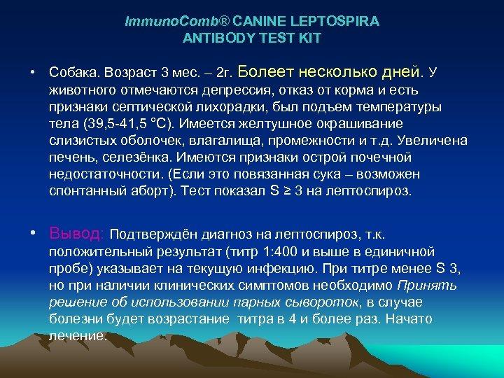 Immuno. Comb® CANINE LEPTOSPIRA ANTIBODY TEST KIT • Собака. Возраст 3 мес. – 2