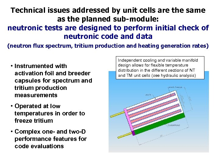 Technical issues addressed by unit cells are the same as the planned sub-module: neutronic