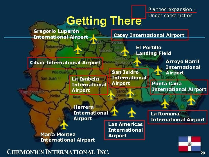 Getting There Gregorio Luperón International Airport Planned expansion Under construction Catey International Airport El