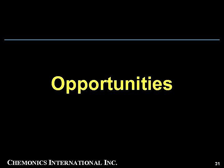 Opportunities CHEMONICS INTERNATIONAL INC. 31