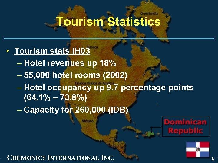 Tourism Statistics • Tourism stats IH 03 – Hotel revenues up 18% – 55,
