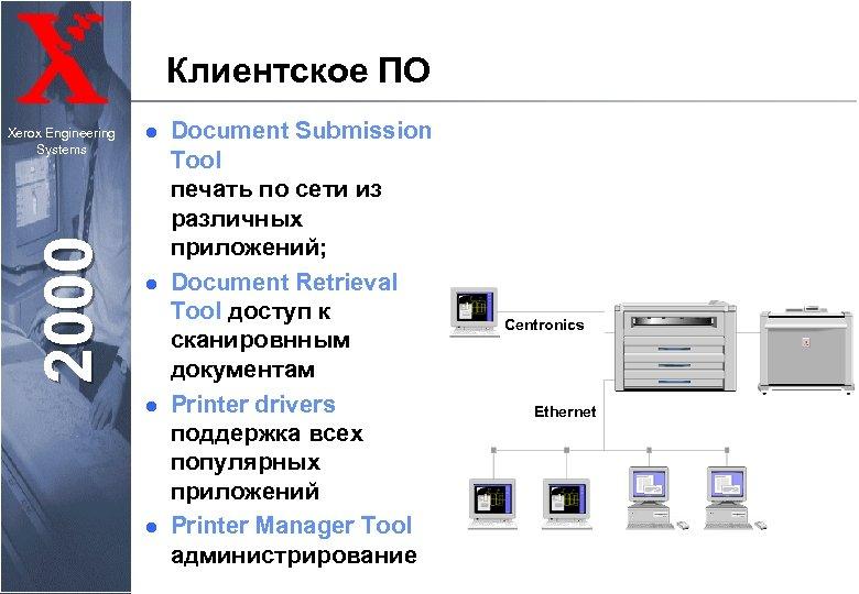 Клиентское ПО 2000 Xerox Engineering Systems l l Document Submission Tool печать по сети