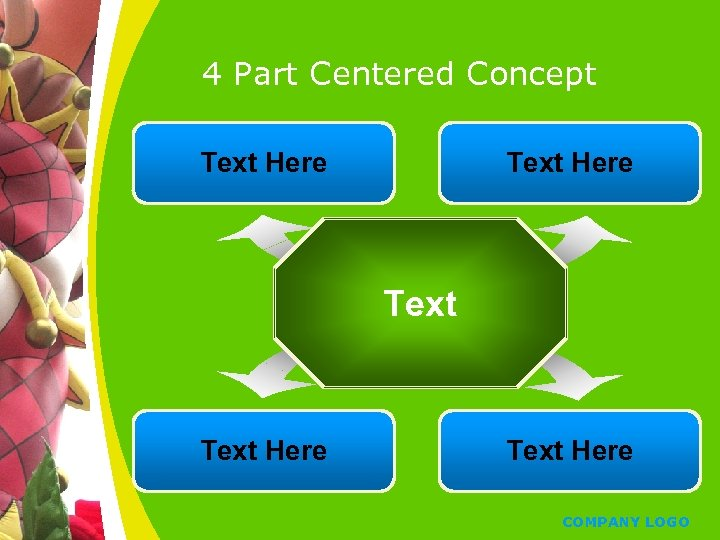 4 Part Centered Concept Text Here Text Here COMPANY LOGO