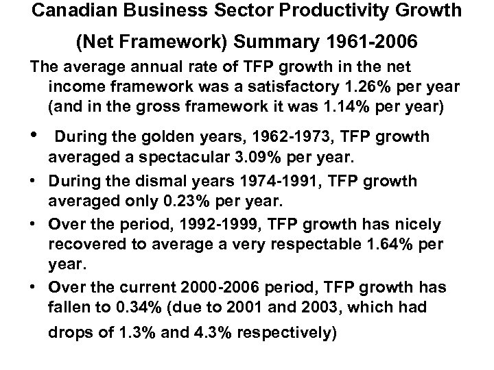 Canadian Business Sector Productivity Growth (Net Framework) Summary 1961 -2006 The average annual rate
