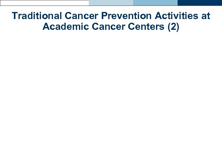 Traditional Cancer Prevention Activities at Academic Cancer Centers (2)