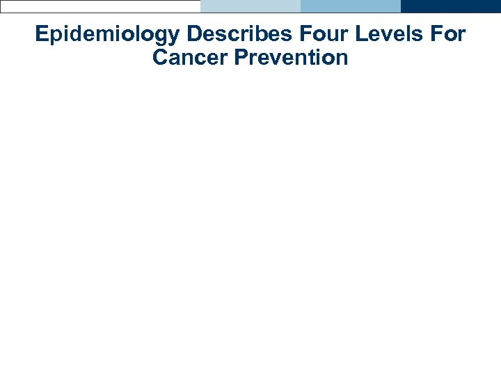 Epidemiology Describes Four Levels For Cancer Prevention
