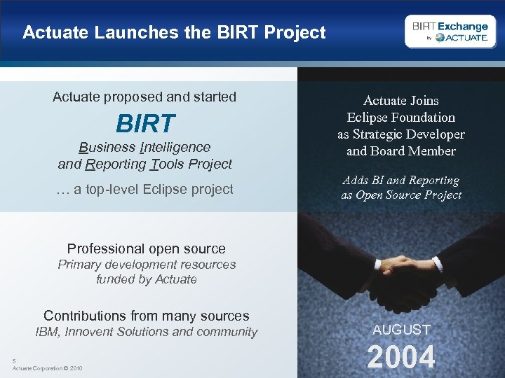 Actuate Launches the BIRT Project Actuate proposed and started BIRT Business Intelligence and Reporting
