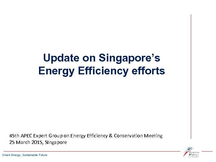 Update on Singapore's Energy Efficiency efforts 45 th APEC Expert Group on Energy Efficiency