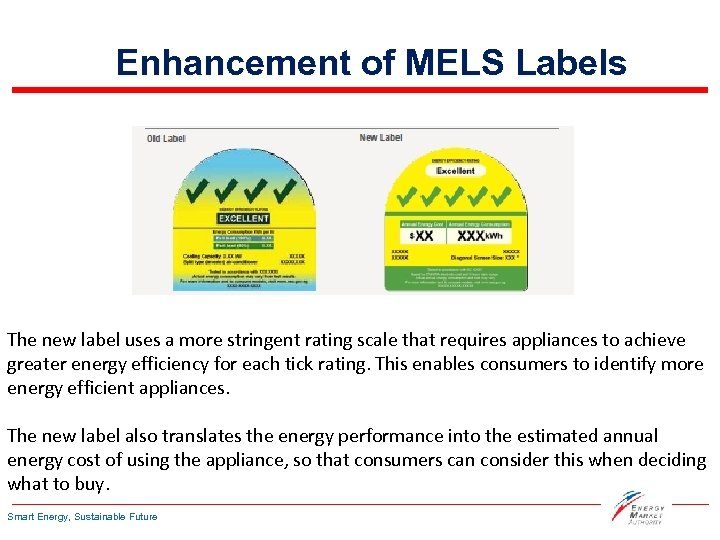 Enhancement of MELS Labels The new label uses a more stringent rating scale that