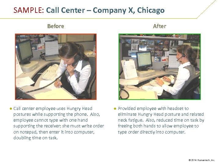 SAMPLE: Call Center – Company X, Chicago Before After ● Call center employee uses