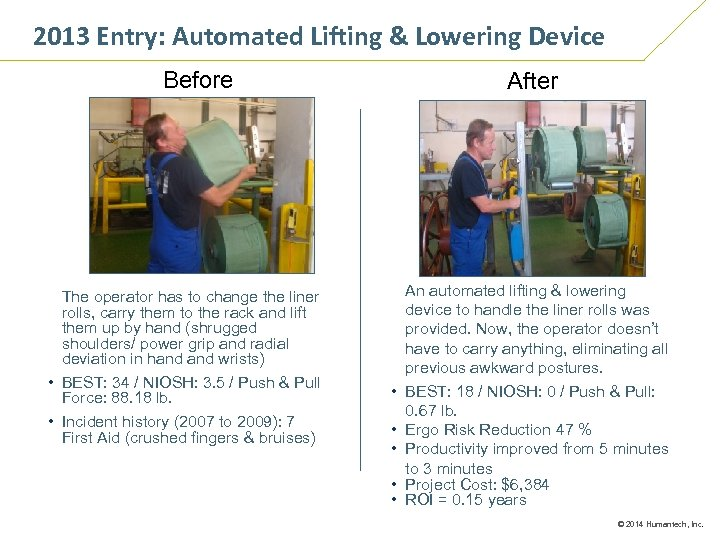 2013 Entry: Automated Lifting & Lowering Device Before The operator has to change the