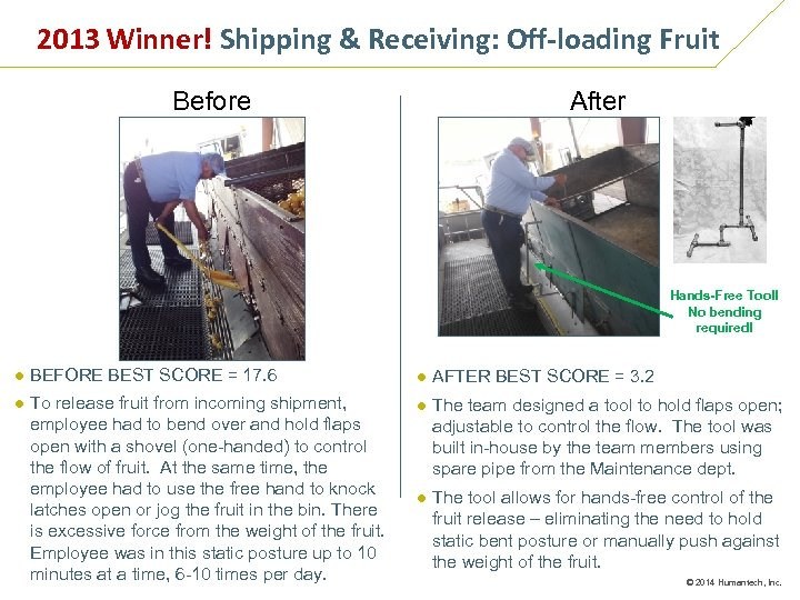 2013 Winner! Shipping & Receiving: Off-loading Fruit Before After Hands-Free Tool! No bending required!