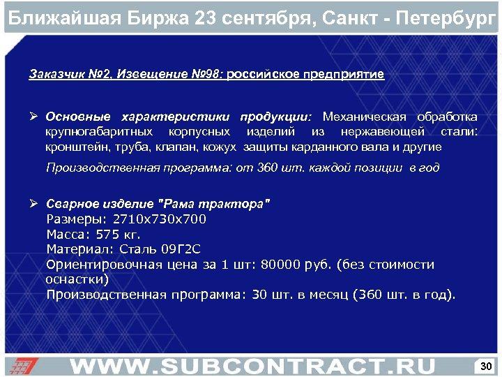 Ближайшая Биржа 23 сентября, Санкт - Петербург Заказчик № 2, Извещение № 98: российское