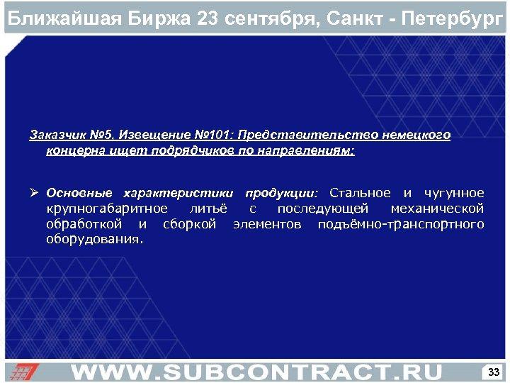 Ближайшая Биржа 23 сентября, Санкт - Петербург Заказчик № 5, Извещение № 101: Представительство