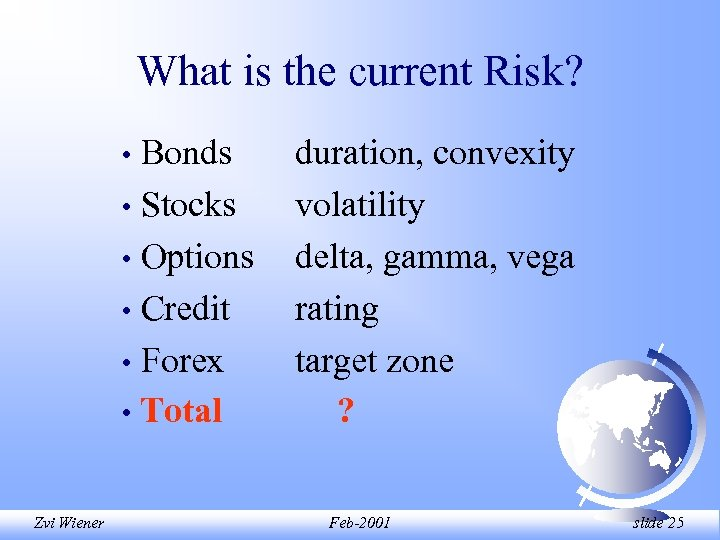 What is the current Risk? Bonds • Stocks • Options • Credit • Forex