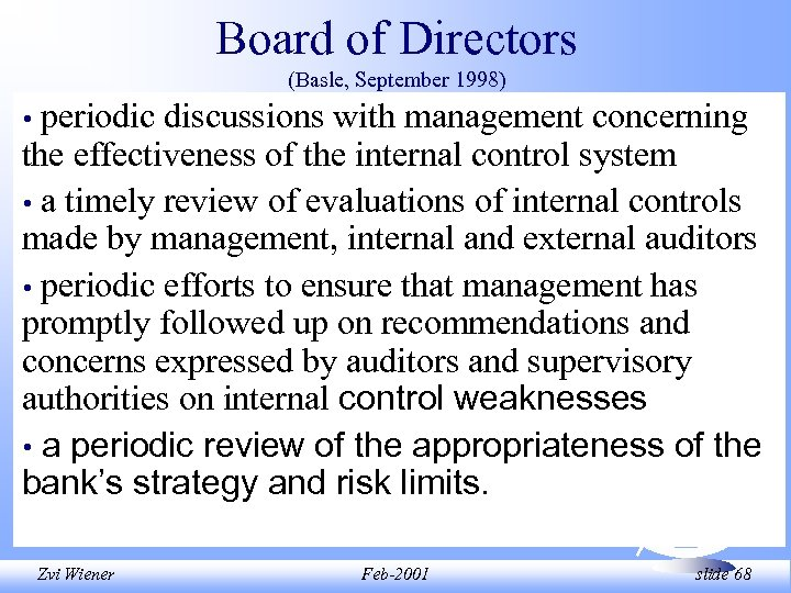 Board of Directors (Basle, September 1998) periodic discussions with management concerning the effectiveness of