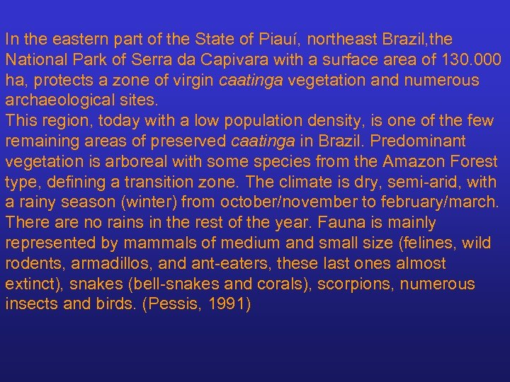 In the eastern part of the State of Piauí, northeast Brazil, the National Park