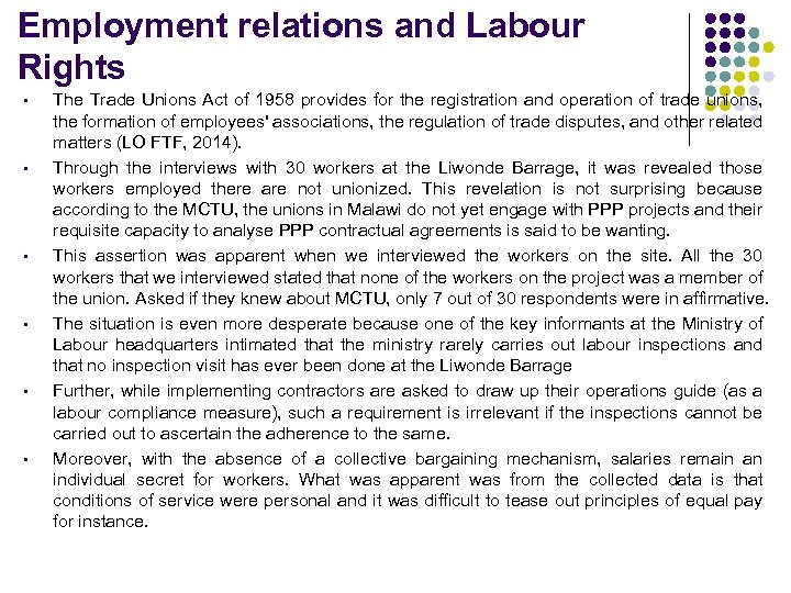 Employment relations and Labour Rights § § § The Trade Unions Act of 1958