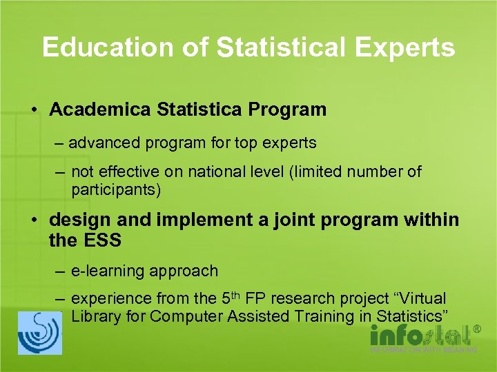 Education of Statistical Experts • Academica Statistica Program – advanced program for top experts