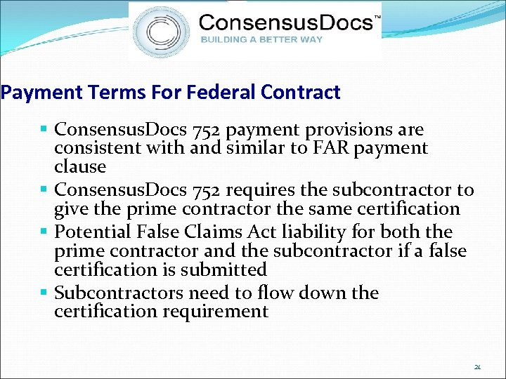 Payment Terms For Federal Contract § Consensus. Docs 752 payment provisions are consistent with