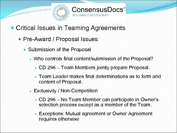 Critical Issues in Teaming Agreements Pre-Award / Proposal Issues: Submission of the Proposal