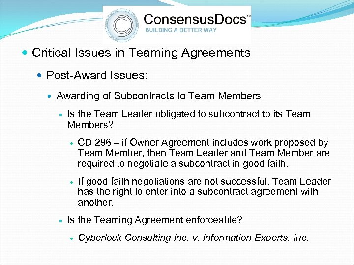 Critical Issues in Teaming Agreements Post-Award Issues: Awarding of Subcontracts to Team Members