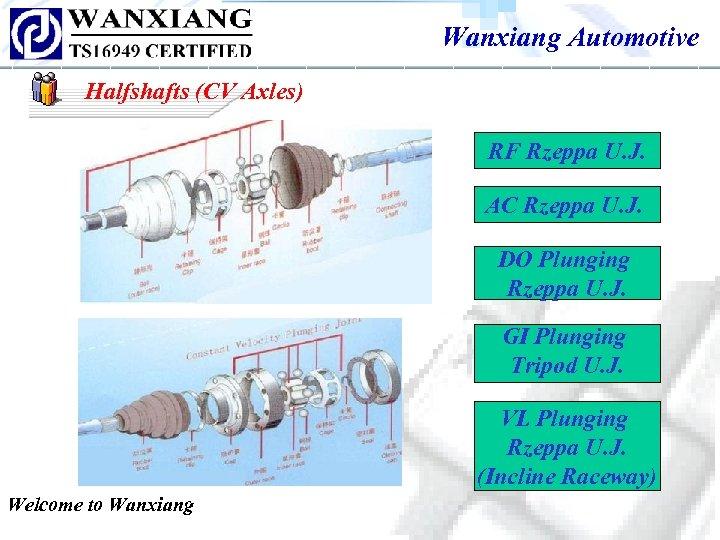 Wanxiang Automotive Halfshafts (CV Axles) RF Rzeppa U. J. AC Rzeppa U. J. DO