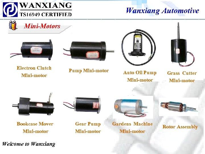 Wanxiang Automotive Mini-Motors Electron Clutch Mini-motor Pump Mini-motor Bookcase Mover Mini-motor Gear Pump Mini-motor