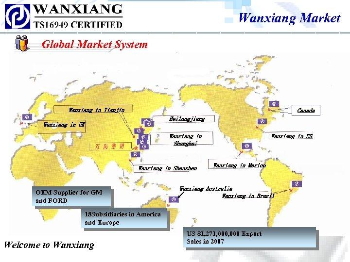 Wanxiang Market Global Market System Wanxiang in Tianjin Canada Heilongjiang Wanxiang in UK Wanxiang