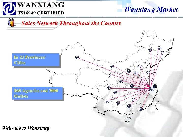 Wanxiang Market Sales Network Throughout the Country In 23 Provinces/ Cities 165 Agencies and