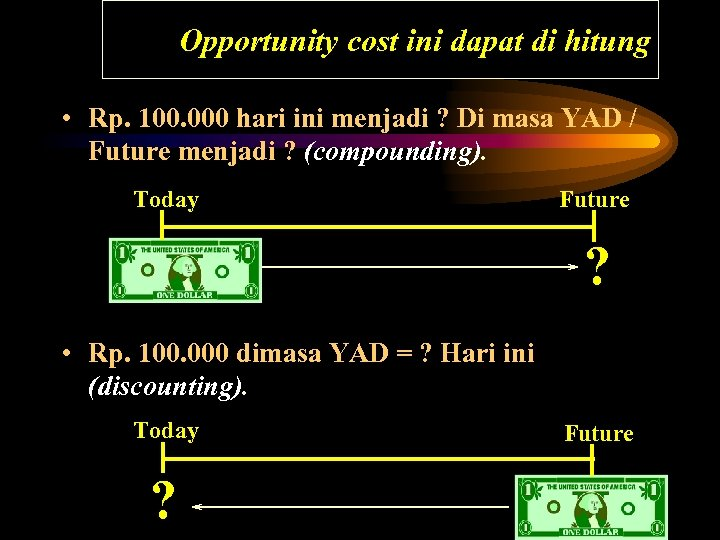 Opportunity cost ini dapat di hitung • Rp. 100. 000 hari ini menjadi ?